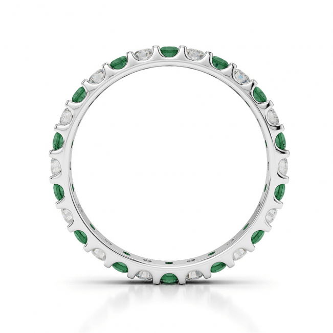 Кольцо дорожка с изумрудами 0,56 карата и бриллиантами