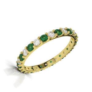 Кольцо тонкое золотое с изумрудами и бриллиантами