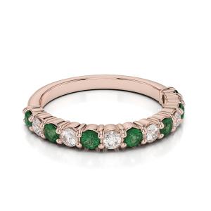 Кольцо полудорожка с изумрудами и бриллиантами