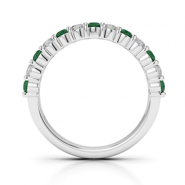 Кольцо дорожка с изумрудами и бриллиантами 0,38 карата