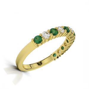 Кольцо золотая полудорожка с изумрудами и бриллиантами