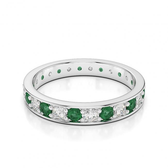 Кольцо дорожка с изумрудами и бриллиантами по кругу