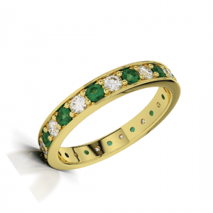 Кольцо золотое дорожка с изумрудами и бриллиантами