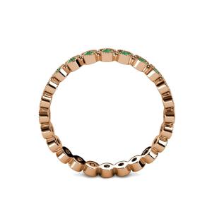 Кольцо дорожка с изумрудами из розового золота