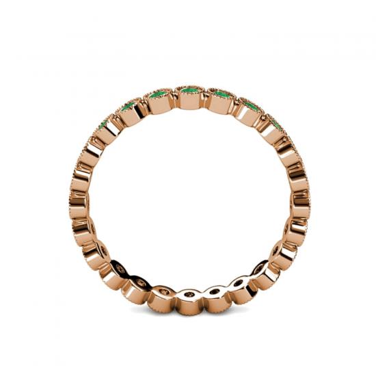 Кольцо дорожка с изумрудами из розового золота,  Больше Изображение 2