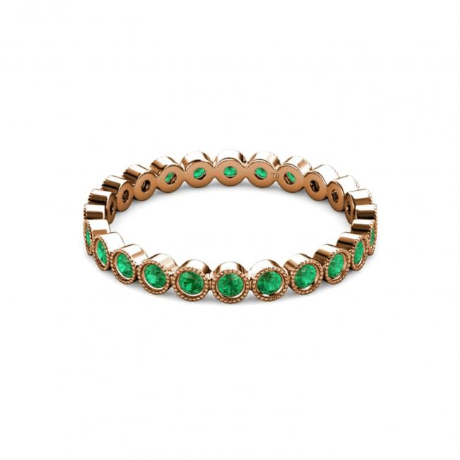 Кольцо дорожка с изумрудами из розового золота - Фото 3