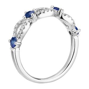 Кольцо полудорожка с сапфирами и бриллиантами