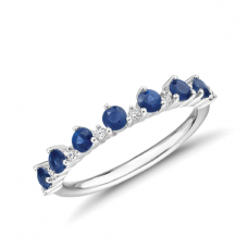 Кольцо дорожка корона с сапфирами и бриллиантами