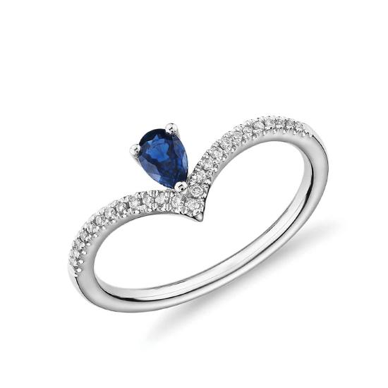 Кольцо с сапфиром Груша и бриллиантами, Больше Изображение 1