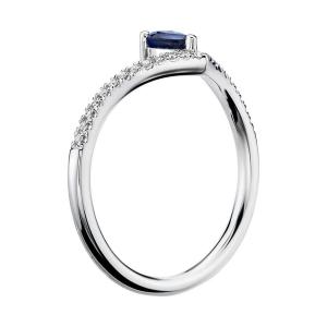 Кольцо с сапфиром Груша и бриллиантами