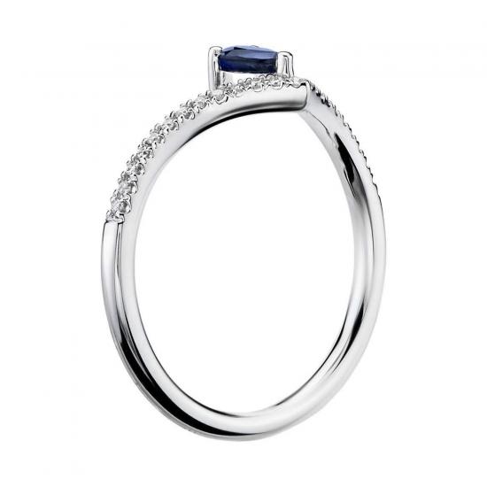 Кольцо с сапфиром Груша и бриллиантами,  Больше Изображение 2