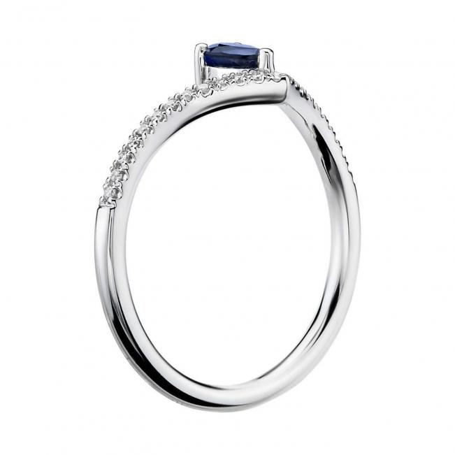Кольцо с сапфиром капля и бриллиантами