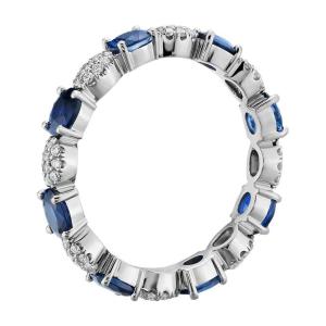 Кольцо дорожка с сапфирами овал и бриллиантами