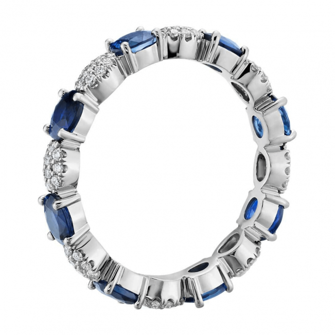 Кольцо дорожка с сапфирами овал и бриллиантами - Фото 1