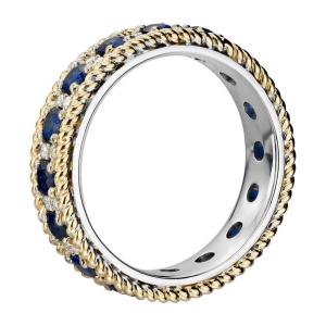 Кольцо дорожка из белого и желтого золота с сапфирами и бриллиантами - Фото 1