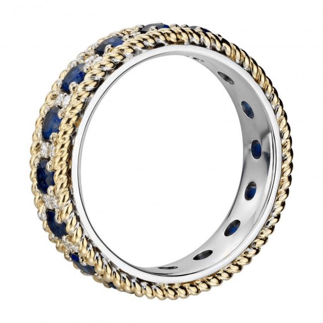 Кольцо дорожка из белого и желтого золота с сапфирами и бриллиантами