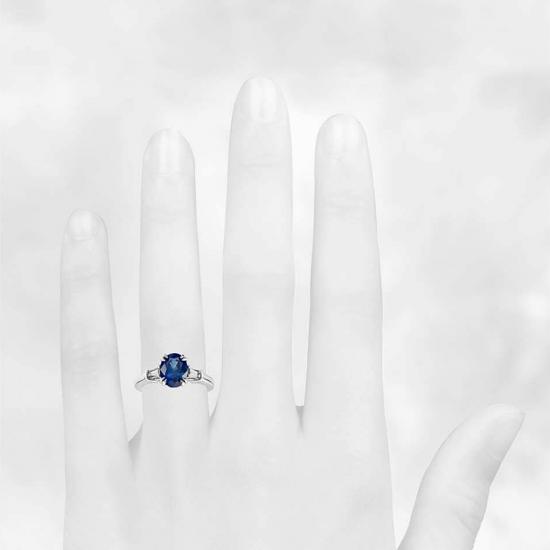 Кольцо с овальным сапфиром и бриллиантами,  Больше Изображение 3