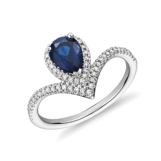 Кольцо с сапфиром капля и бриллиантами, Больше Изображение 1