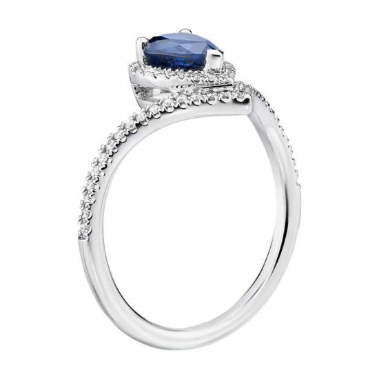 Кольцо с сапфиром капля и бриллиантами,  Больше Изображение 2