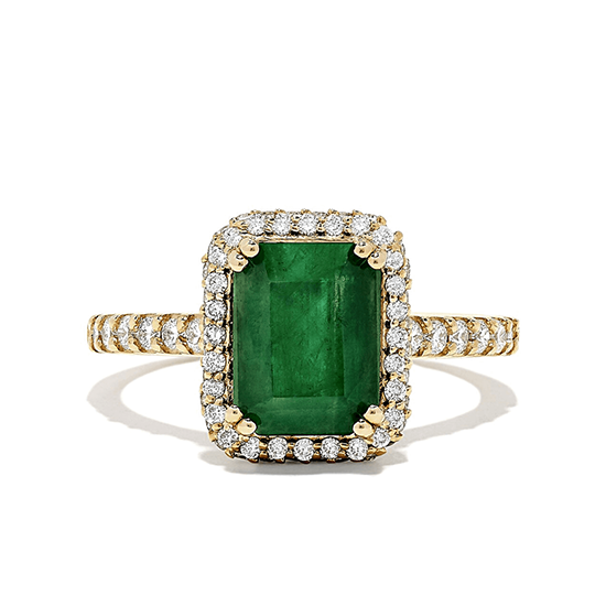 Кольцо из золота с изумрудом и бриллиантами, Больше Изображение 1
