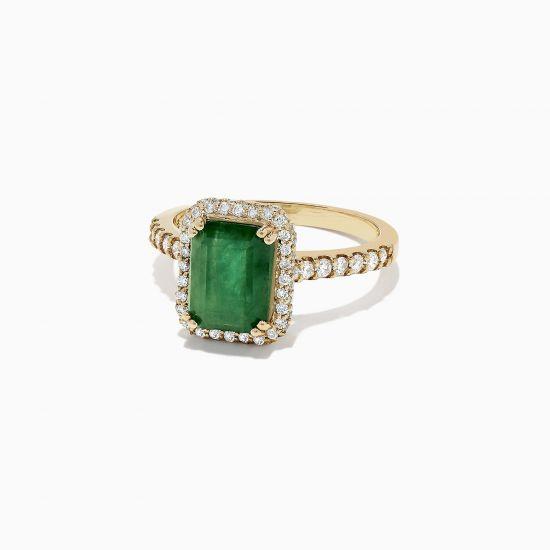 Кольцо из золота с изумрудом и бриллиантами,  Больше Изображение 2