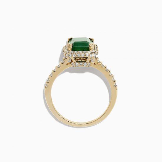 Кольцо из золота с изумрудом и бриллиантами,  Больше Изображение 3