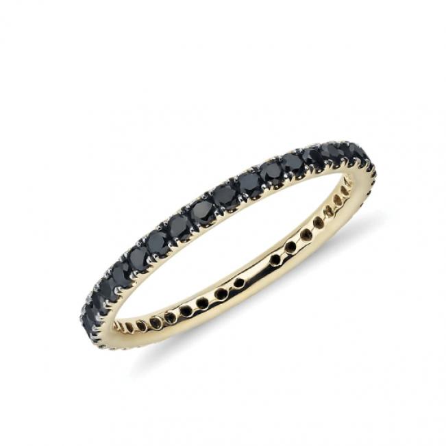 Кольцо дорожка с черными бриллиантами из золота