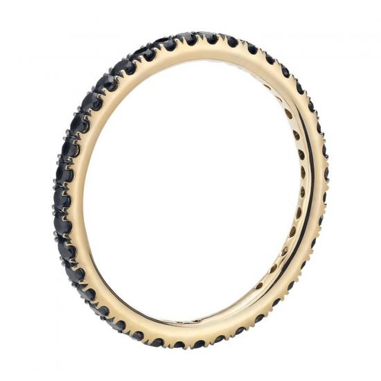 Кольцо дорожка с черными бриллиантами из золота,  Больше Изображение 2