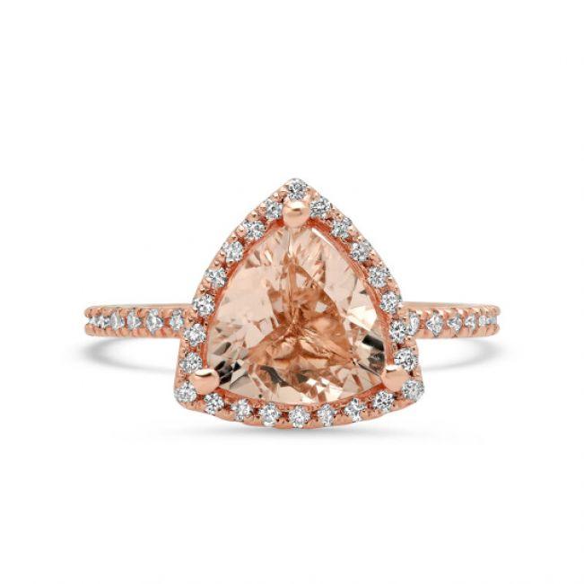 Кольцо с треугольным морганитом и бриллиантами