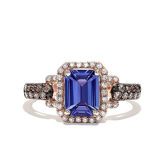 Кольцо с танзанитом в ореоле бриллиантов, Больше Изображение 1