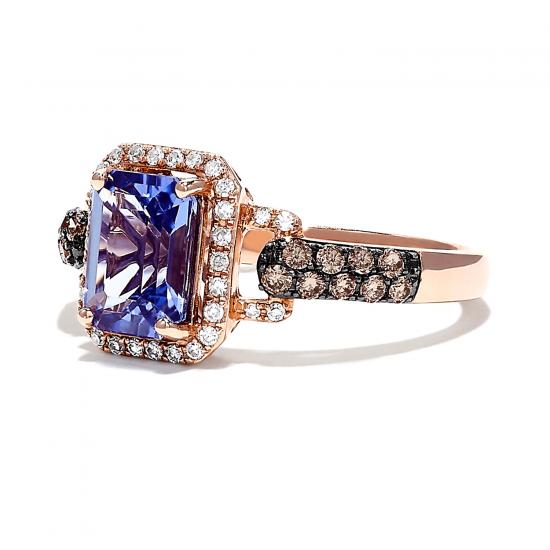Кольцо с танзанитом в ореоле бриллиантов,  Больше Изображение 2