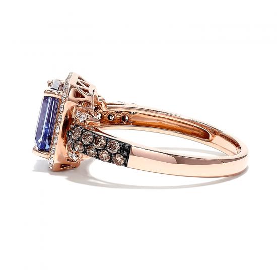 Кольцо с танзанитом в ореоле бриллиантов,  Больше Изображение 3