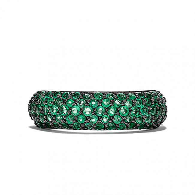 Широкое кольцо дорожка с изумрудами