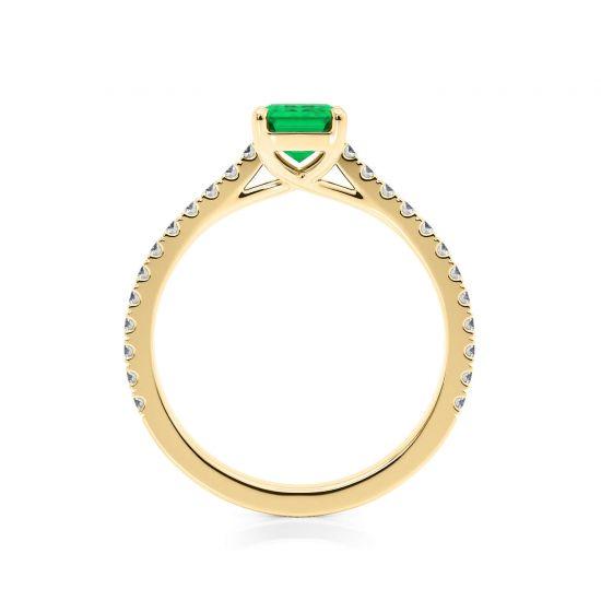 Кольцо с изумрудом и паве из бриллиантов из желтого золота,  Больше Изображение 2