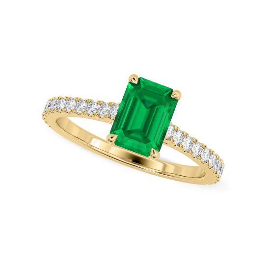 Кольцо с изумрудом и паве из бриллиантов из желтого золота,  Больше Изображение 4