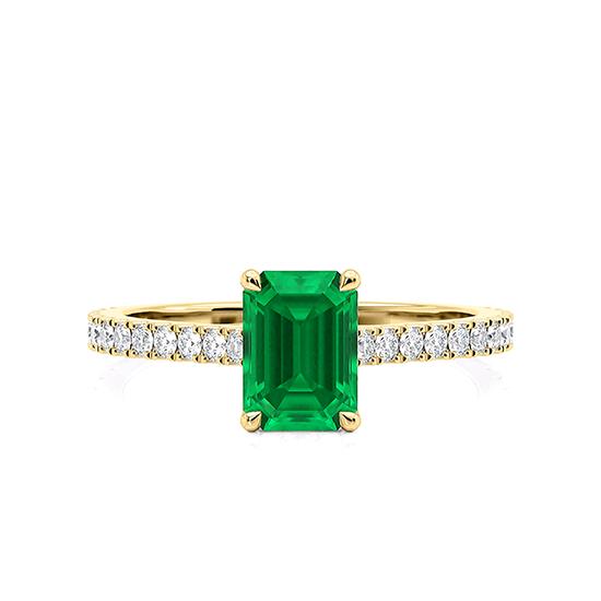 Кольцо с изумрудом и паве из бриллиантов из желтого золота, Больше Изображение 1
