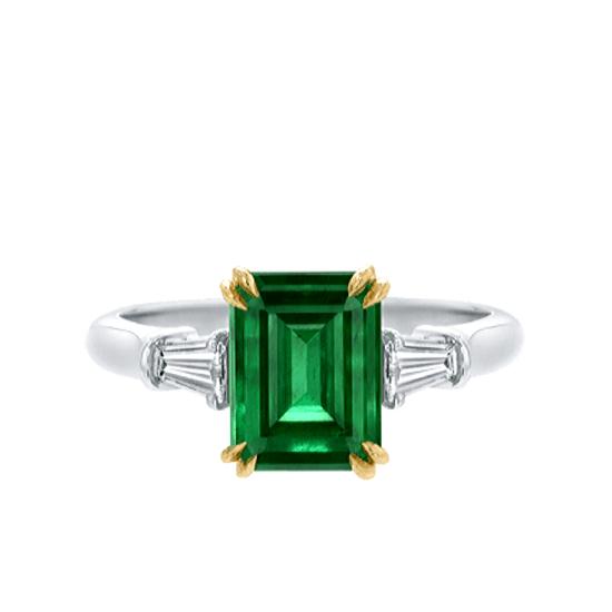 Кольцо с изумрудом и бриллиантами по бокам, Больше Изображение 1