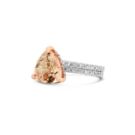 Кольцо с морганитом и дорожки с бриллиантами,  Больше Изображение 3