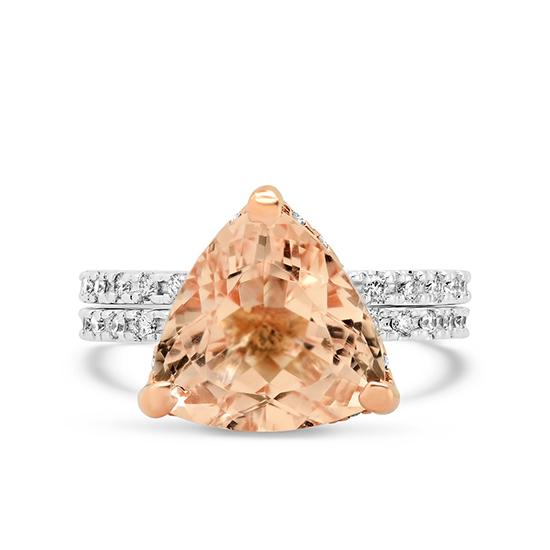 Кольцо с морганитом и дорожки с бриллиантами, Больше Изображение 1