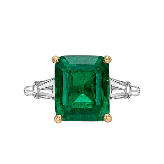 Кольцо с изумрудом 5 карат и боковыми бриллиантами, Больше Изображение 1