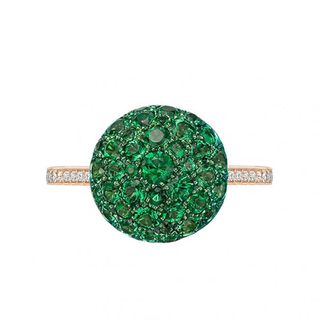Кольцо с изумрудами и бриллиантами Шарик