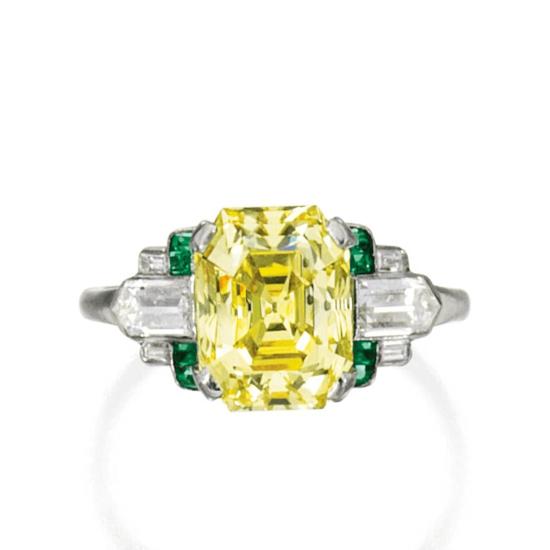 Кольцо с желтым бриллиантом и изумрудами, Больше Изображение 1