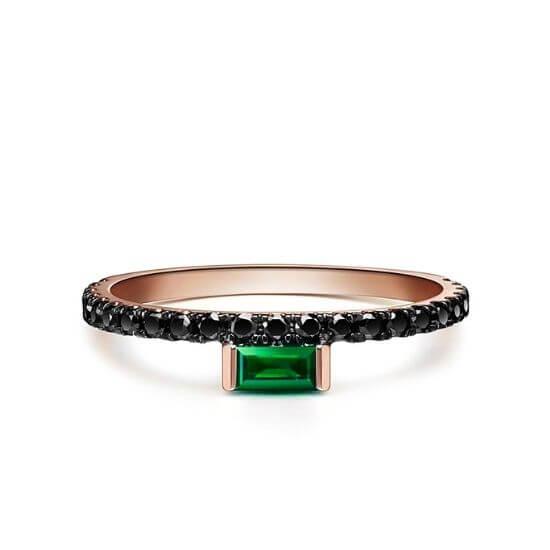 Кольцо с изумрудом и черными бриллиантами, Больше Изображение 1