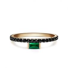 Кольцо с изумрудом и дорожкой с черными бриллиантами