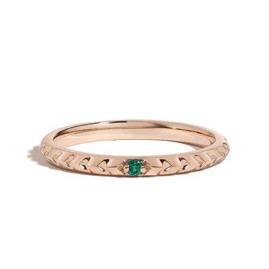 Тонкое ребристое кольцо с изумрудом, Больше Изображение 1