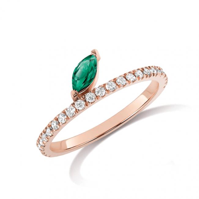Кольцо дорожка с бриллиантами и изумрудом