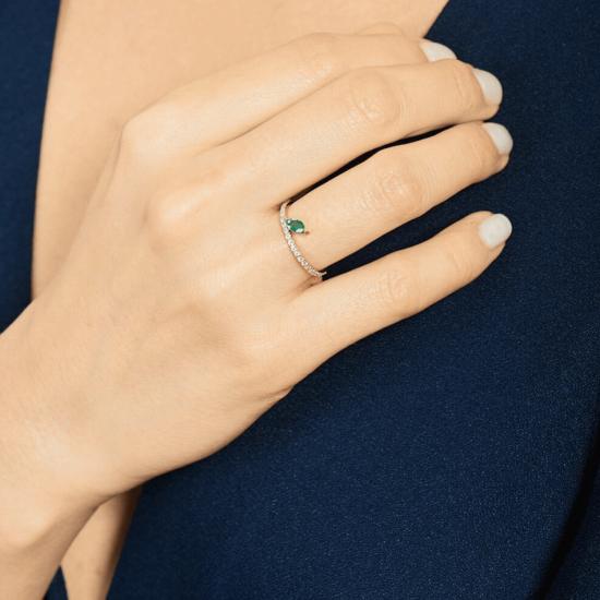 Кольцо дорожка с бриллиантами и изумрудом маркиз,  Больше Изображение 3