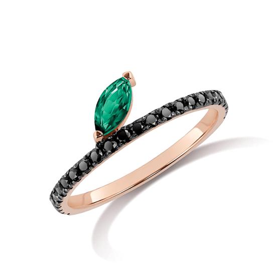 Кольцо с черными бриллиантами и изумрудом, Больше Изображение 1