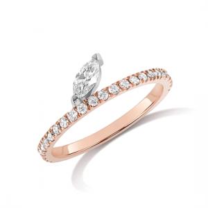 Кольцо дорожка с бриллиантом маркиз