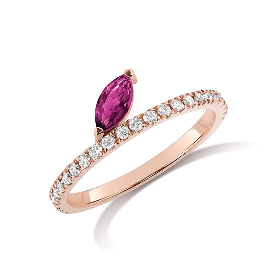 Кольцо с рубином и бриллиантами, Больше Изображение 1